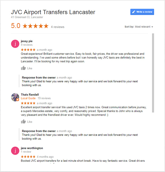 JVC airport taxis Google Reviews